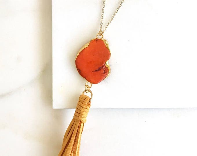 Boho Tassel Necklace. Coral Red and Mustard Yellow Tassel Necklace. Long Slice Tassel Necklace. Boho Jewelry. Unique Gift Idea.