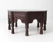 RESERVE antique octagonal teak table, Indian carved wood coffee table