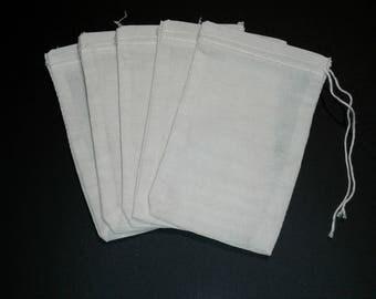 5 Reusable  3x5 cloth tea bags