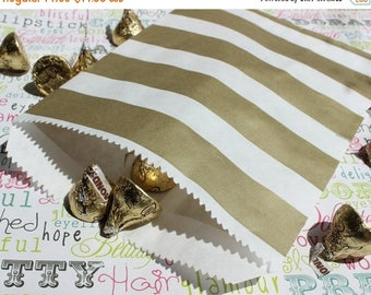 GLAM SALE 100 Gold Metallic Rugby Stripe Candy Bags, Wedding Candy Bags, Popcorn Bags, Party Favor Bags