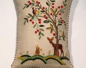 Vintage Crewel Forest scene Decorative Pillow