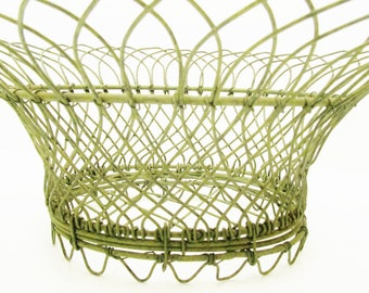 Vintage French Oval Wire Basket - Green Wire Basket - Intricate Design