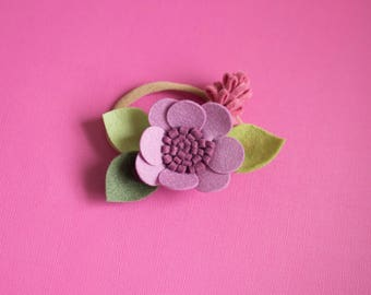 Baby girl headband, Toddler Headband, Toddler Flower Headband, Felt Flower Headband, Purple Flower Headband, Purple Headband