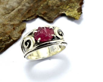 Sterling silver ruby ring raw ruby gemstone, July birthstone, artisan ring rough ruby jewelry ring size 7, gift for her