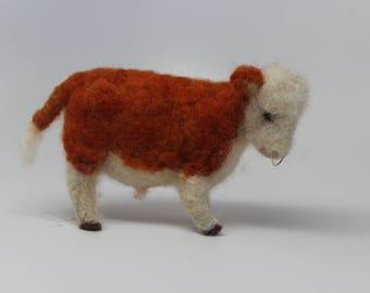 Needle felted Hereford  Bull