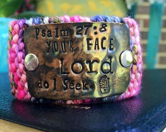 Custom Handstamped Bracelet Cuff, Personalized Bible Verse Jewelry, Psalm Bracelet, Pink and Copper Cuff Bracelet