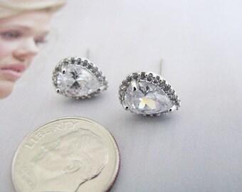 Rhodium Wedding Earrings Cubic Zirconia Earrings Wedding Jewelry Bridal Accessory Bridal Earrings Bridesmaid Earrings