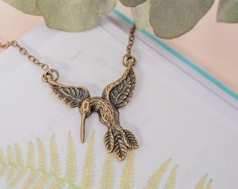Bronze Hummingbird Necklace, Hummingbird Pendant, Hummingbird Charm, Hummingbird Jewellery, Hummingbird Necklace, Bronze Bird Jewellery,
