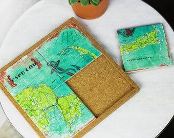 Coaster. Map Trivet.Custom Housewarming Gift.Hostess.Personalized Wedding Gift.Engagement.Gift for Him.Coworker Gift.Cork Trivet.Pot Holder
