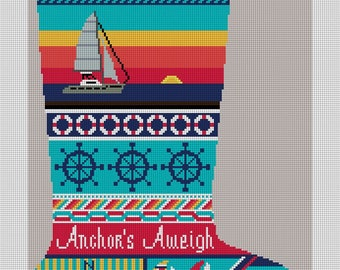 Anchors Aweigh Sailing Christmas Stocking Needlepoint Canvas
