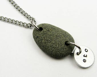 Gray Stone Pendant with Custom Stamped Charm on Stainless Steel Chain - River Rock Jewelry