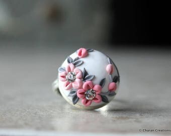 Beautiful Polymer Clay Applique Statement Ring in Pink and White