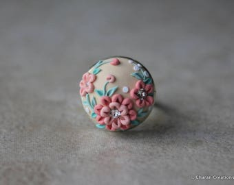 Beautiful Polymer Clay Applique Statement Ring in Peach and Beige