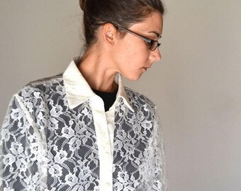 34% Off Sale - Sheer Lace Blouse 1980s Long Sleeve Button Up Vintage Grunge Madonna Style Top Large