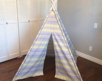 CLEARANCE Purple, Green, Violet, Lilac, Striped, Play Teepee, Tee Pee, Tent (poles NOT included) Ready to Ship