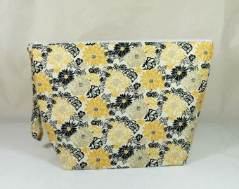 Knitting Project Bag - Large Zipper Wedge Bag in Yellow Flowered Quilting Fabric with Black and White Polka Dot Cotton Lining