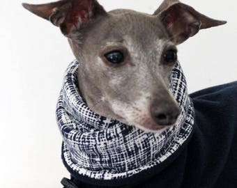 Italian Greyhound Clothing Navy Jammies with Navy Crosshatch Print jersey lined Snood/Neck Warmer - made to order see item details