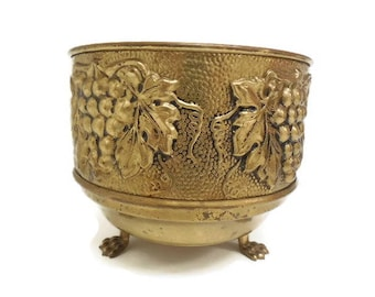 Footed Brass Planter, Round Brass Pot Planter w/ Grape Motif, Antiqued Metal Grape Vine Embossed Planter, Made in England, Home Decor