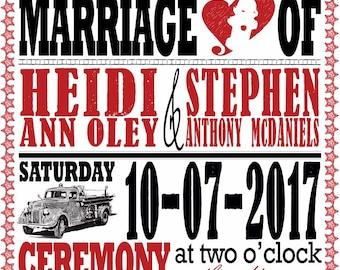 Firefighter Wedding Invitations - Fireman Wedding Invitation - Red and Black Vintage Typography - Custom Listing for Heidi