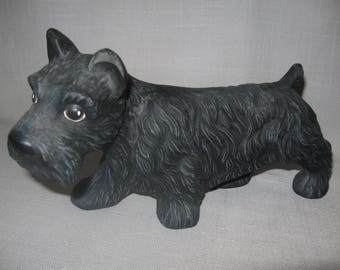 Scottie Dog Ceramic Figurine All Black Hand Painted Scottish Terrier 1950-1960