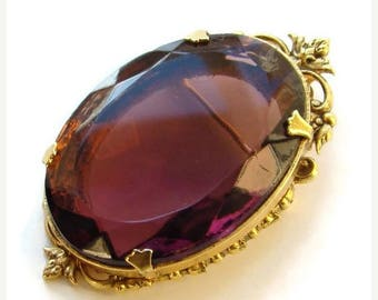 ON SALE Vintage Pendant Brooch Oval Amethyst Rhinestone Unsigned