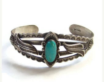 ON SALE Bell Trading Post Turquoise Cuff Bracelet Fred Harvey Era Sterling Two Excellent Repairs