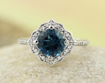 Reserved for Connor, AAA London Blue Topaz Engagement Ring Diamond Wedding Ring Vintage Floral Ring In 14k White Gold Gem1224