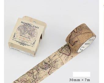 M568 World Map Washi Tape / Masking Tape, 3cm x 7m masking tape, gothic age washi, wide washi tape, vintage washi, washi roll, stationery