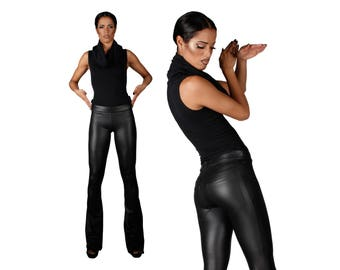 Flare Leather Leggings w. Jeans Back, Matte Black Bootcut Spandex Pants, Glam Rock Stage Wear, Heavy Metal Clothing, by LENA QUIST