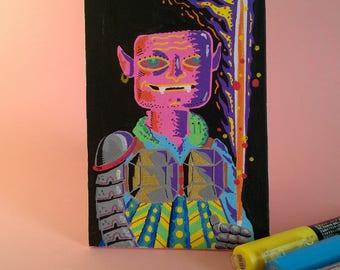Goblin, Acrylic on board canvas, 10 x 15 cm