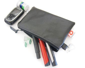 Large Insulin Pen and Glucose Meter Case with Pockets, a Medical ID Card and a Carabiner - Solid Black or Red (Oilcloth)