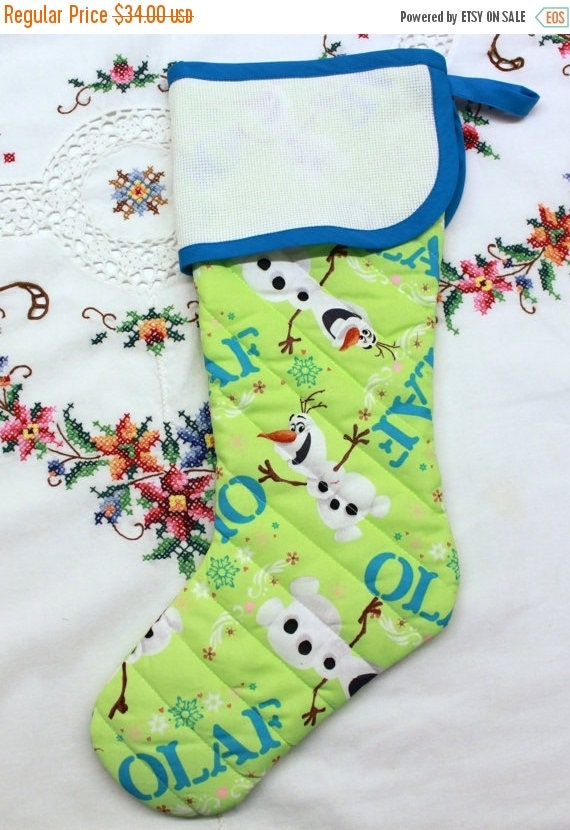 SALE Olaf Snowman Stitchable Quilted Cross stitch Christmas Stocking