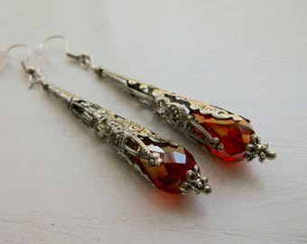 Vintage Look Red Crystal And Silver Dangle Cone Earrings