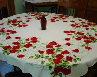 "Vintage Tablecloth, Unused with Bucilla Label ""Rose Garden"" Beautiful"