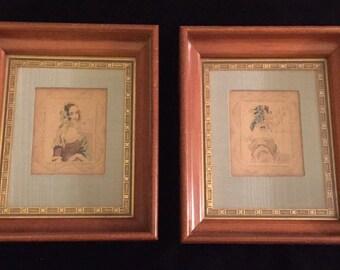 Framed Art - Victorian Civil War Era Etchings of Woman - Cherry Frames Elegant