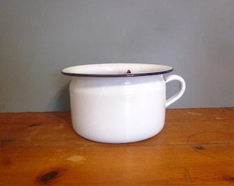 Antique enamel chamber pot, vintage white flower pot, planter, enamel over tin