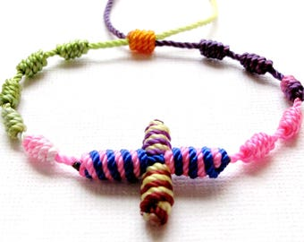 Knotted Rosary Bracelet•Colorful Pastel Mix•100% Nylon Cord Rosary Bracelet•Friendship Bracelet•KN0018•Our Lady Beads