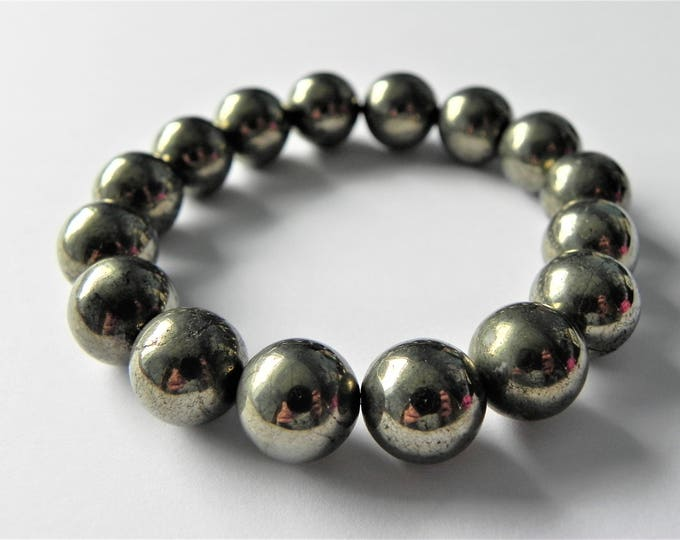 Chunky pyrite gemstone stretch bracelet