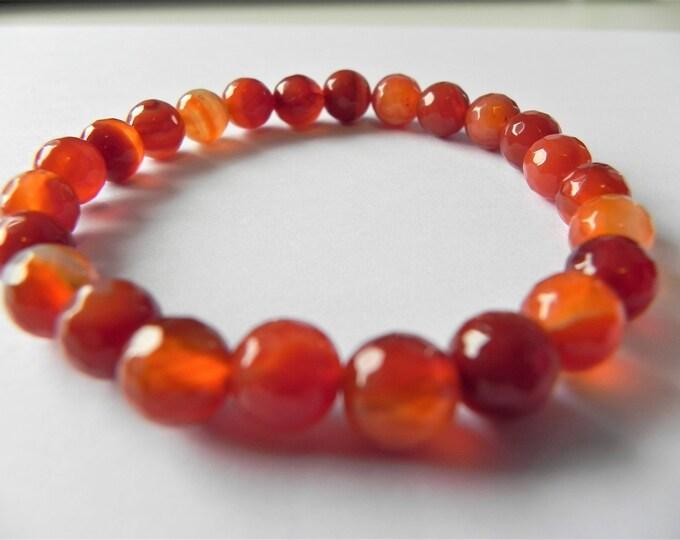 Burnt orange banded agate gemstone stretch bracelet