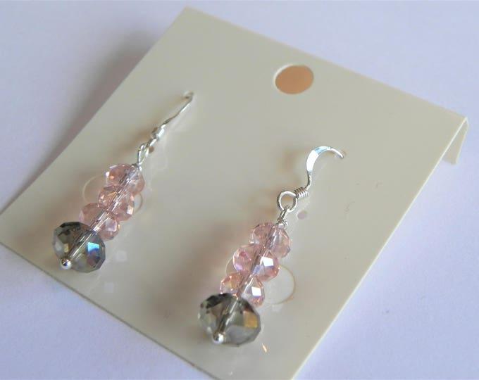 Pink and grey/brown crystal sterling silver drop earrings