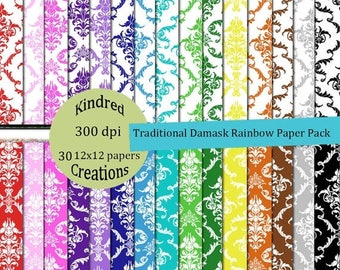 ON SALE Traditional Damask Rainbow Digital Paper Pack 300 dpi 12x12 30 papers For Personal or Small Business Use