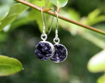 Black Druzy Earrings - Crystal Druzy - Silver Edged Druzy - Sterling Silver Earrings - Dainty Crystal Drop Earrings - Two Feathers Jewelry