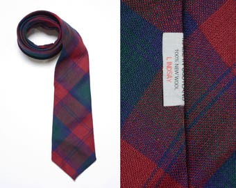 vintage tartan plaid tie Scottish 100% new wool red blue gren flannel necktie Lindsay Scotland mens vintage tie vintage menswear
