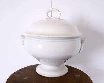 French Soup Tureen ironstone stonewear white ironstone french porcelain Creil and Montereau Jeanne d'arc living