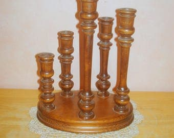 Wooden Candle Holder Candlestick Lighting Five Different Sizes in the Turned Candlesticks on One Solid Base Home Decor Table Decor