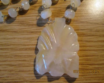 Vintage Agate Stone Hand Carved Necklace, Jewelry, Ladies Necklace, Crafting Stones, Slag Necklace,
