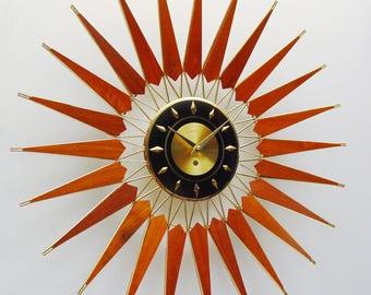 Starburst Clock, Mid Century Modern, 1960s 1970s Sunburst Wall Clock