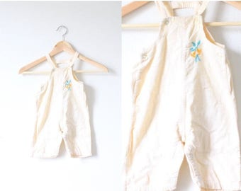 40% OFF CHRISTMAS in JULY Vintage yellow corduroy little girls overalls // little girls overalls // boho // striped overalls // yellow linen