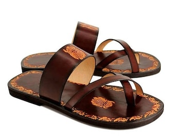 ON SALE Leather Men Slides, Handmade Sandals With Imprints, Hand Painted Leather Unisex Sandals With Design - VALOR Ii