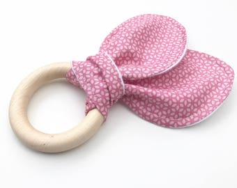 Organic Fabric and Wood Baby Teether with Rabbit Ears. Teether for Girls. Baby Gift. Gifts Under 15.